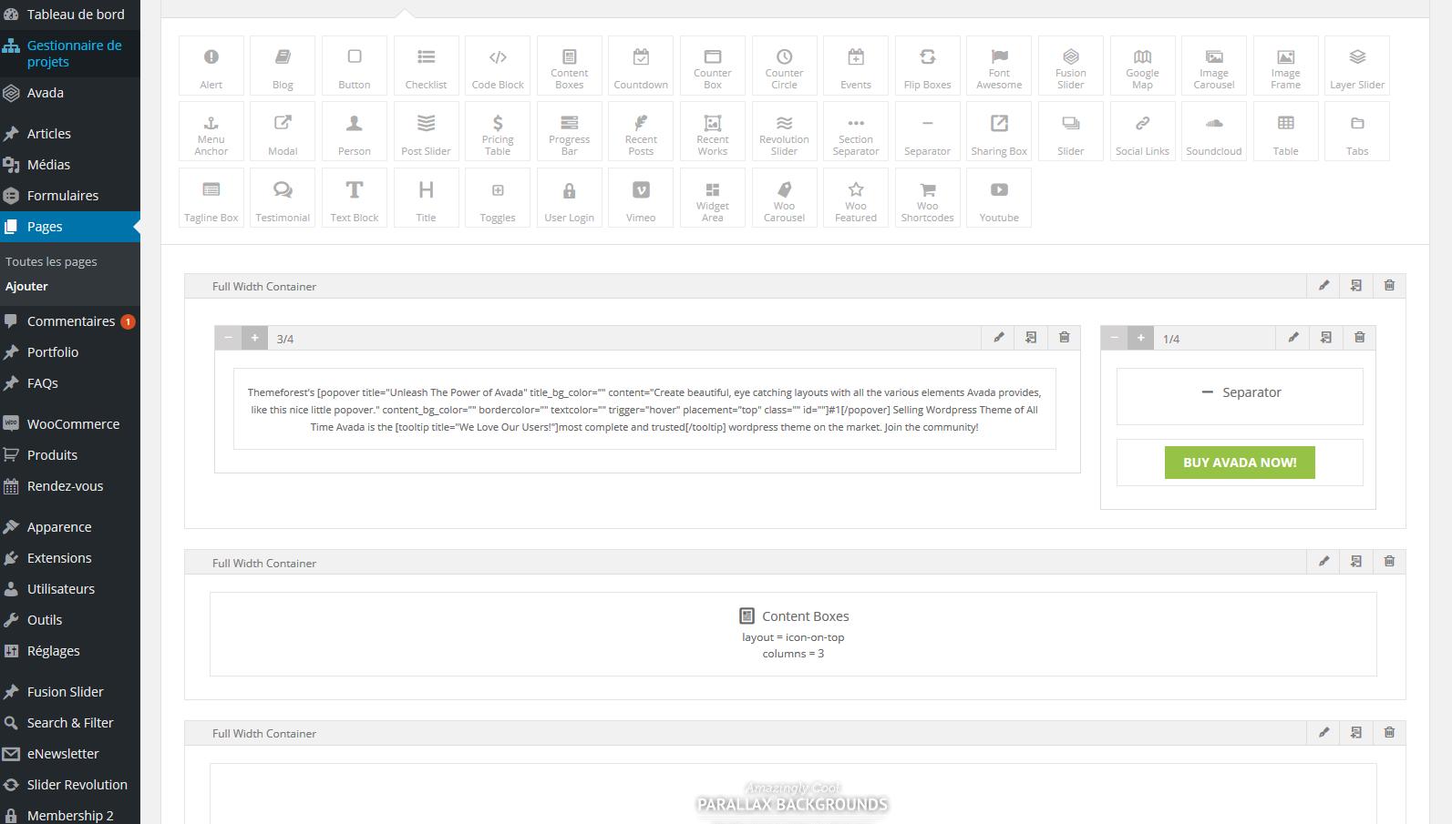 Construire une page web avec Avada est plus sophistiqué qu'avec un simple editeur