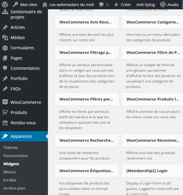 Les widgets dans WooCommerce