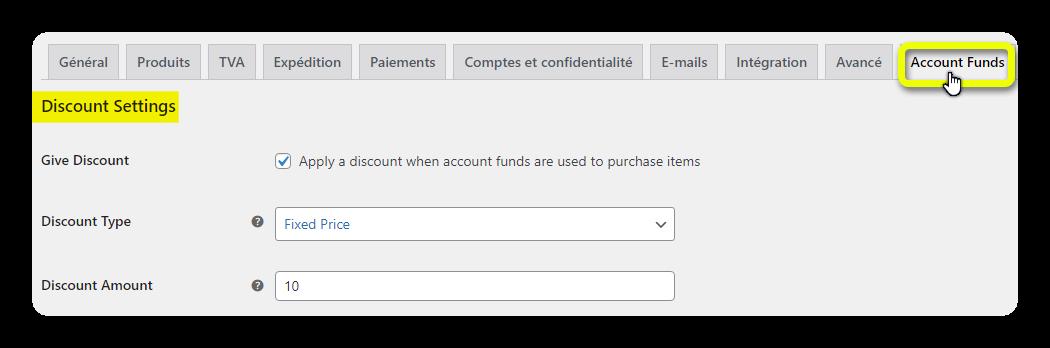 discount settings