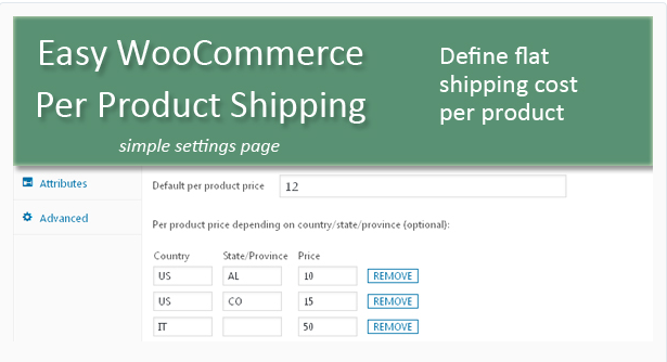 Plugin WooCommerce :Easy WooCommerce Per Product Shipping