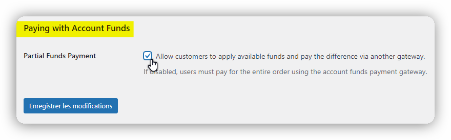 paying with account funds