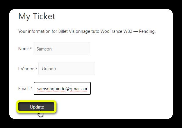 update ticket