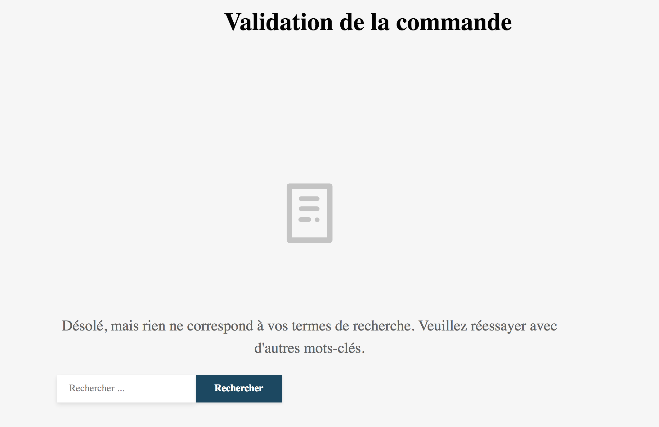 Page de la validation de la commande