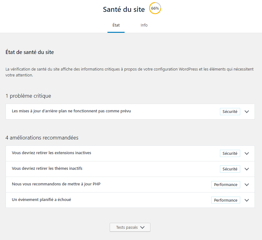 WordPress 5.2 – zoom sur la fonctionnalité Etat de santé du site