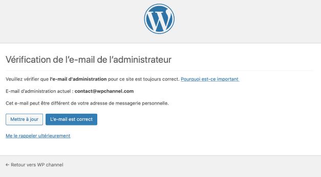Comment désactiver la vérification de l'Email de l'administrateur WordPress