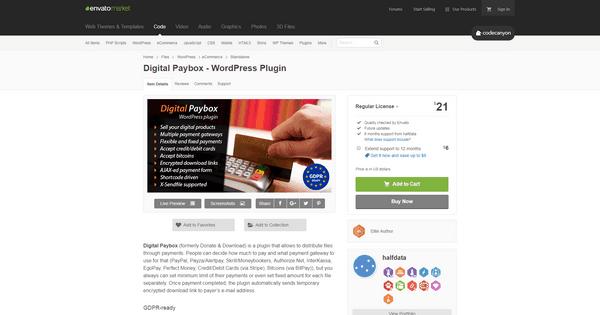 Digital Paybox est un plugin qui prend en charge la vente de produits et services numériques.