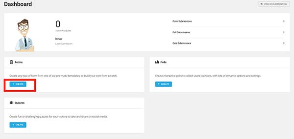 Créez un nouveau formulaire dans WordPress.