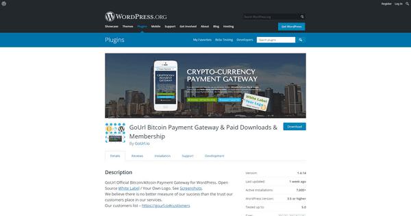 Avec le plugin GoUrl Bitcoin Payment, les propriétaires de sites Web peuvent accepter les paiements Bitcoin.