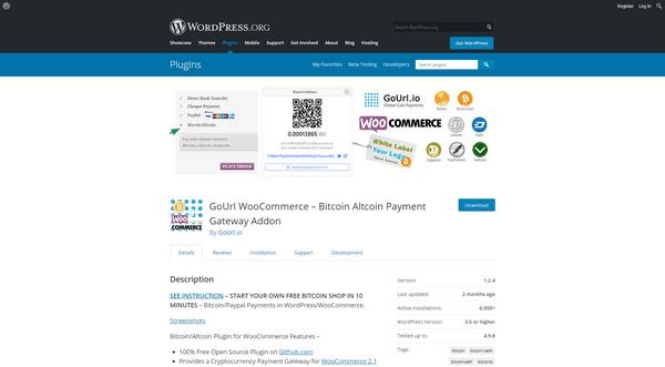 Le plugin GoUrl WooCommerce vous aide à ajouter une passerelle de paiement crypto-monnaie à votre site WordPress.