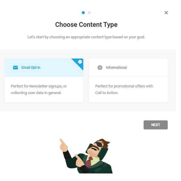 Écran où vous pouvez choisir le type de contenu - e-mail ou informatif