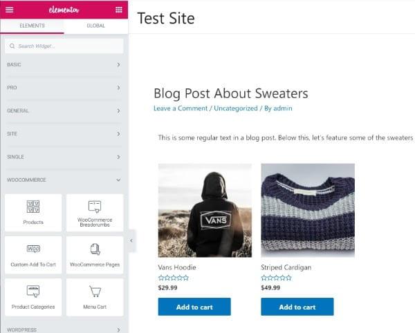 Accédez et modifiez les widgets de votre site dans elementor.