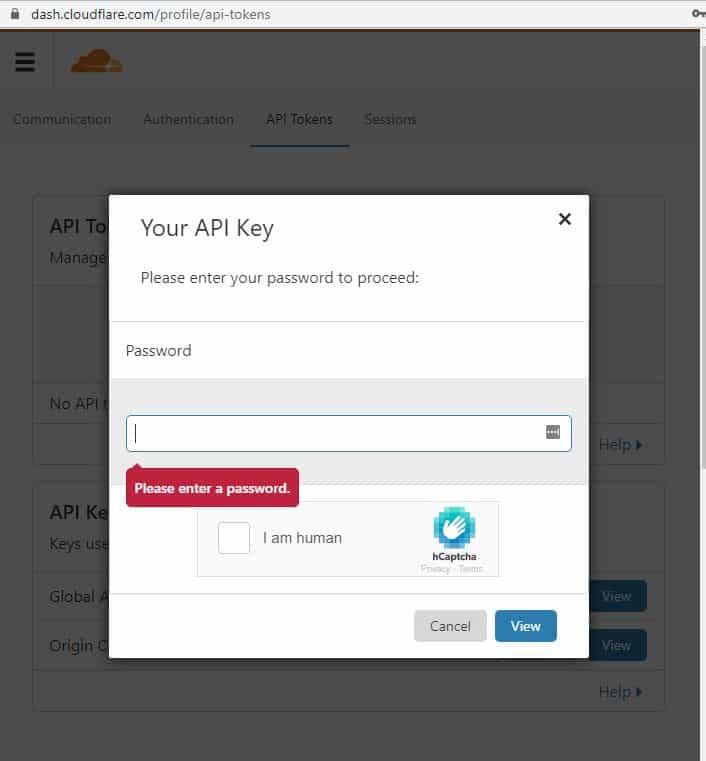 Votre mot de passe de clé API