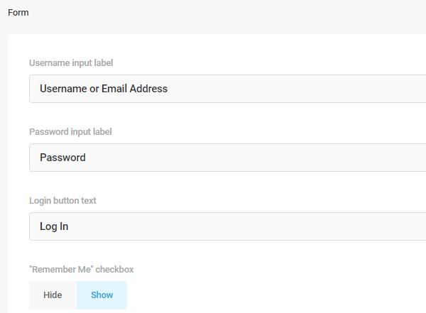 Capture d'écran des étiquettes du formulaire et des options qui vous permettent de modifier le texte.