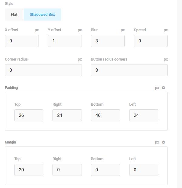 Capture d'écran des options de remplissage et de marge