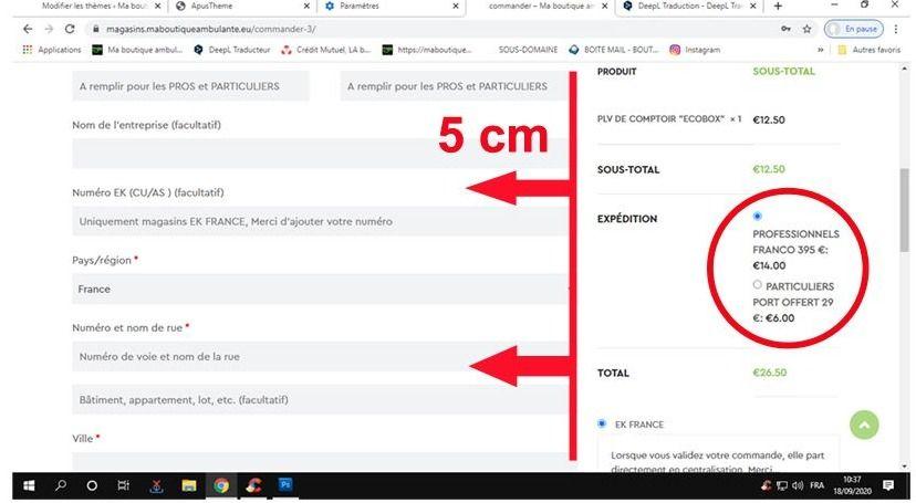 Modifier la largeur formulaire de commande