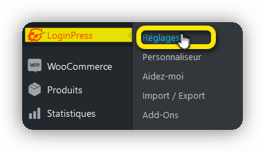 reglage loginpress