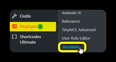 reglage wordable
