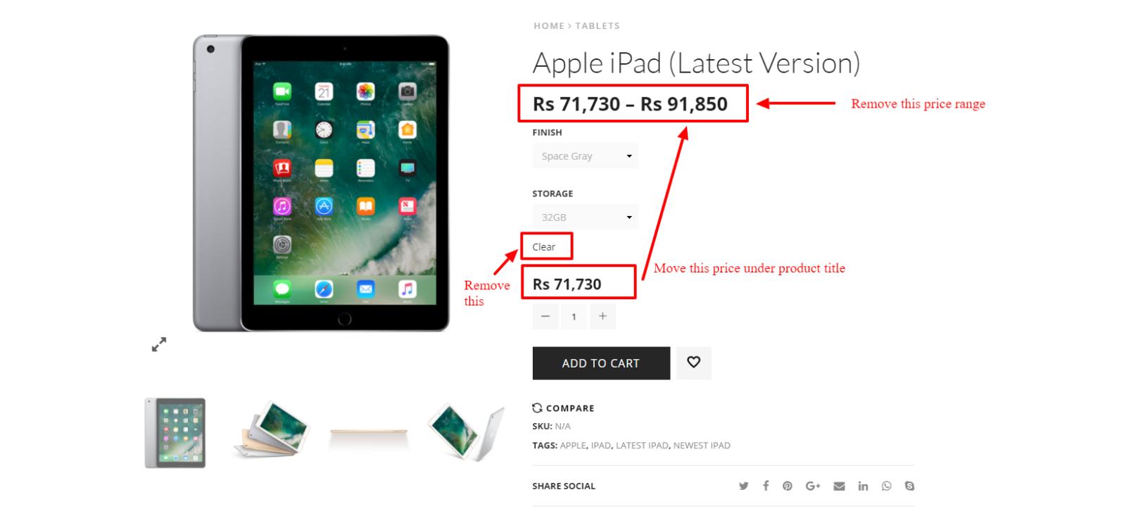 Affichage du prix variable sur la page produits dynamique