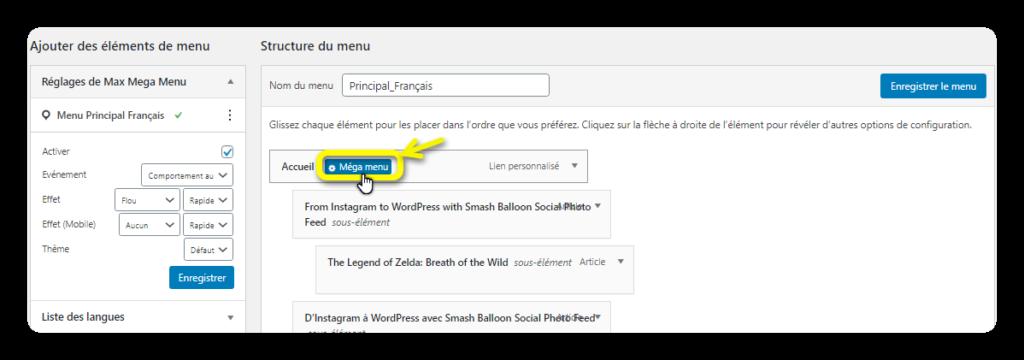 acces personnalisation mega menu