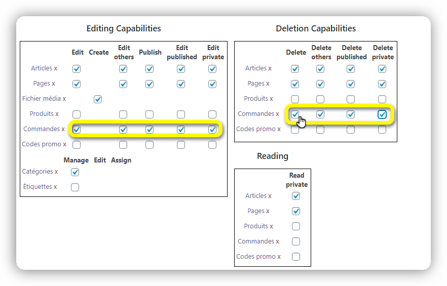 capabilities editeurs