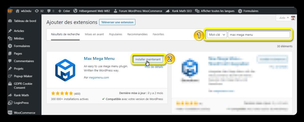 installation max mega menu