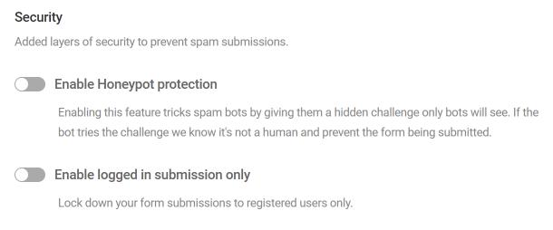 Options de sécurité des formulaires dans Forminator