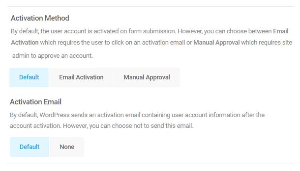 Sélectionnez la méthode d'activation du compte utilisateur dans le formulaire d'inscription Forminator