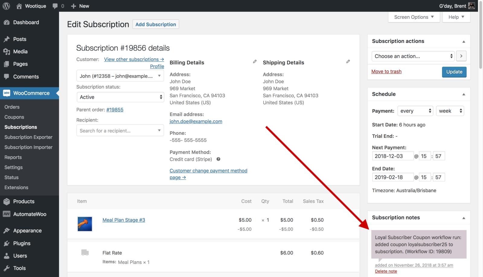 Ajouter une capture d'écran d'exemple de note d'abonnement au coupon