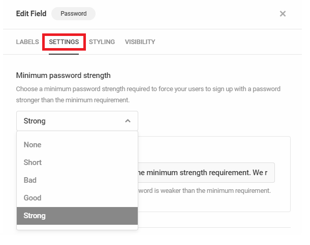 Définissez la force minimale du mot de passe dans le formulaire d'inscription Forminator