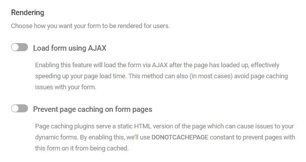 Options de rendu de formulaire dans Forminator