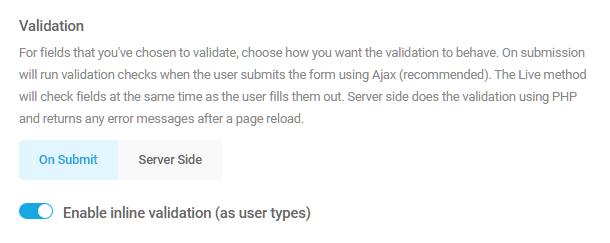 Options de validation de champ dans Forminator