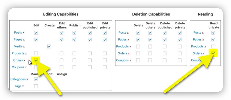 edit user capabilities