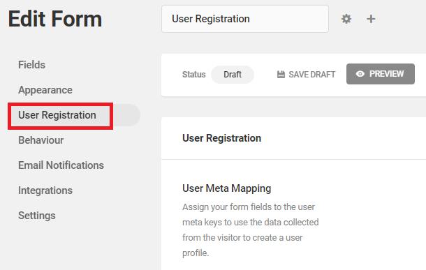 onglet d'inscription de l'utilisateur
