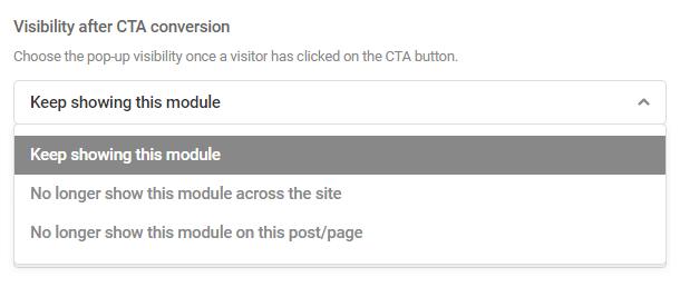 Options de visibilité du module après le clic CTA dans le module Hustle