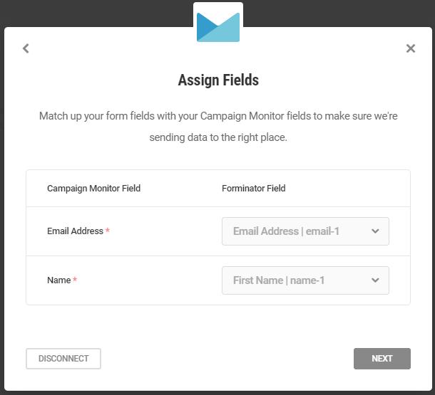 Faire correspondre les champs dans l'intégration de Campaign Monitor avec le formulaire Forminator