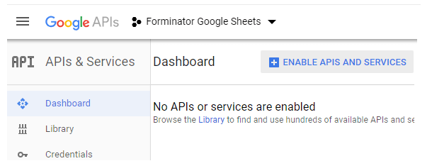 Activer les API et les services chez Google