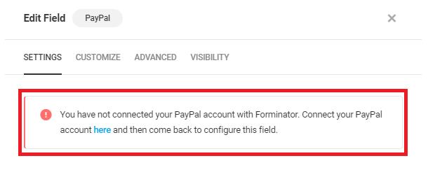 Alerte si aucun compte n'est connecté dans le champ Forminator PayPal