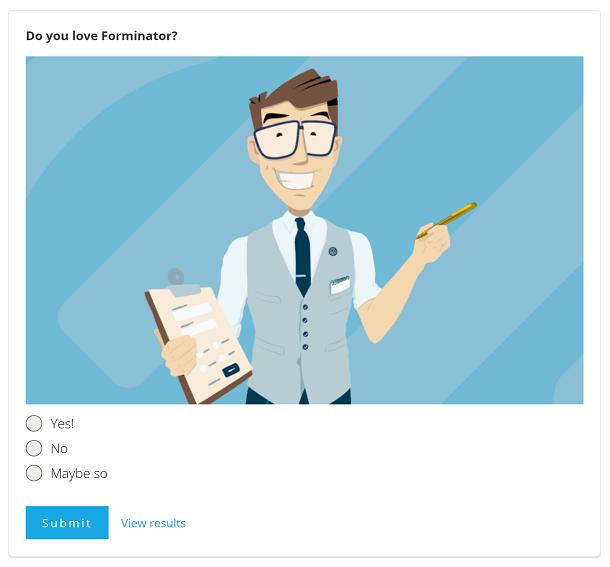 Exemple de sondage Forminator avec image sélectionnée