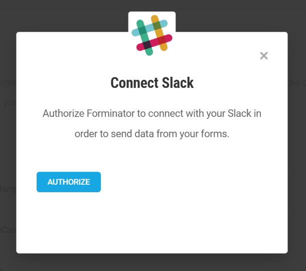 Autoriser Forminator à se connecter à Slack