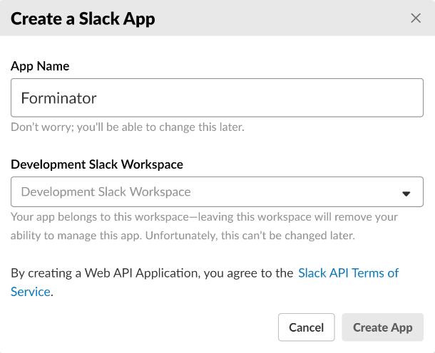 Créer une application dans Slack pour l'intégration dans Forminator