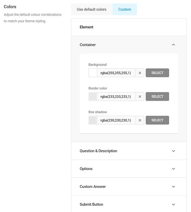 Options de couleur dans les sondages Forminator