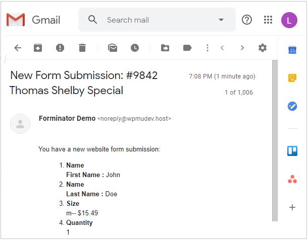 Exemple d'e-mail de notification Forminator reçu avec toutes les données de champ