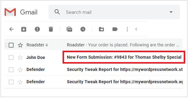 Exemple de ligne d'objet d'un e-mail de formulaire Forminator dans Gmail