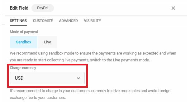 Sélectionnez la devise dans le champ Forminator PayPal
