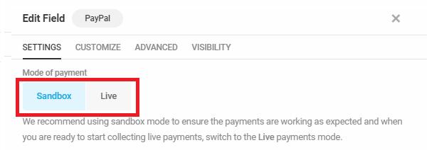Sélectionnez le mode de paiement dans le champ Forminator PayPal