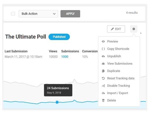 Menu Admin dans le sondage Forminator