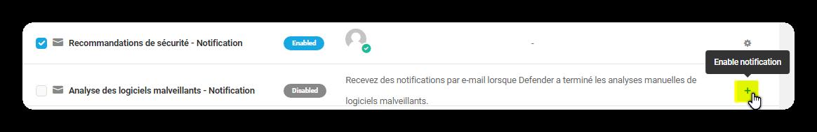 analyse des logiciels malveillants notification