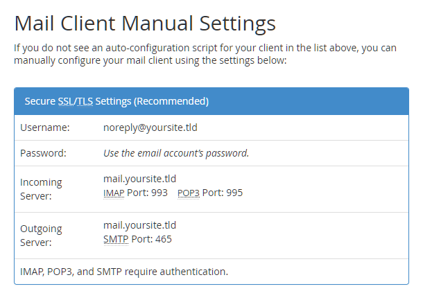 cPanel-smtp-server-settings