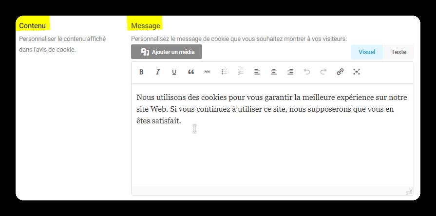 contenu message cookies