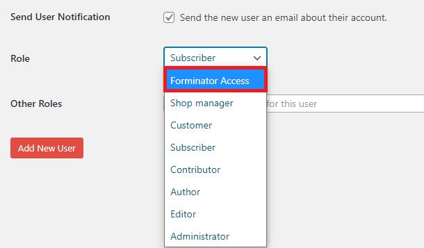 créer un nouvel utilisateur pour forminator